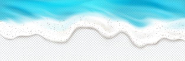 Vista superior del borde de salpicaduras de espuma de olas de mar