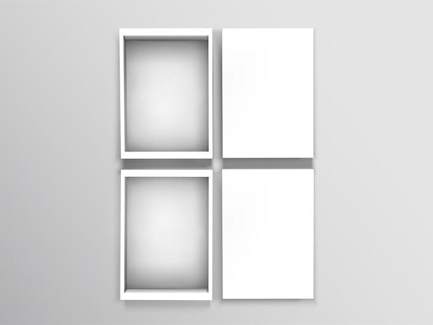 Vista superior de cajas abiertas en blanco aisladas sobre fondo gris en la ilustración 3d