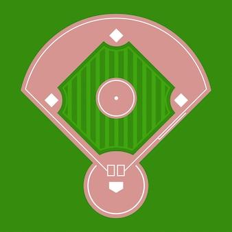 Vista superior del campo de diamante de béisbol.