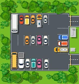 Vista superior de la ciudad desde las calles, carreteras, casas y automóviles.