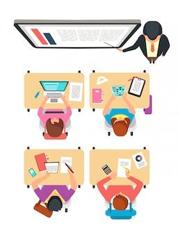 Vista superior de la clase. estudiantes y maestros aprendiendo en el aula universitaria con ilustración de vector de pizarra