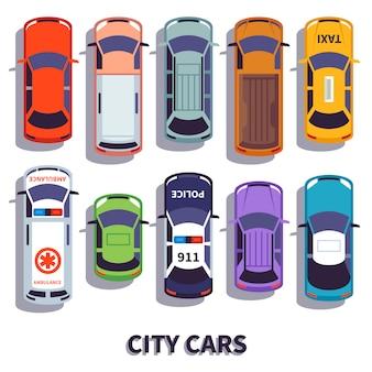 Vista superior del coche set de transporte de vehículos urbanos
