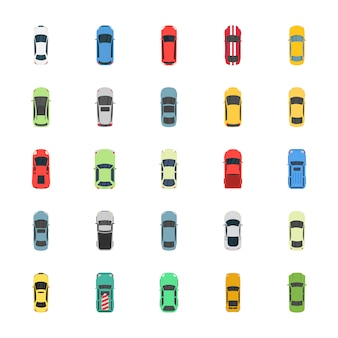 Vista superior coloridos iconos planos de coches