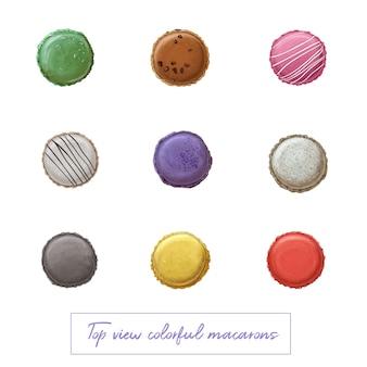 Vista superior coloridos macarons dibujados a mano