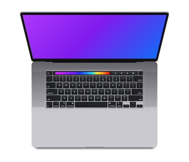 Vista superior de la computadora portátil