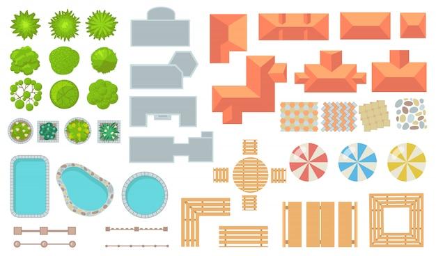 Vista superior del conjunto de iconos planos de elementos de parque y ciudad