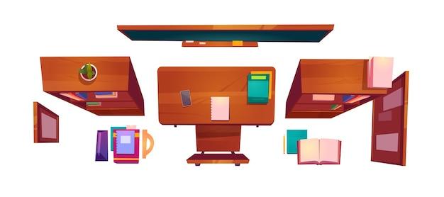 Vista superior de cosas de aula, escritorio de estudiante interior de clase de escuela o universidad con libros