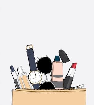 Vista superior cosmética para moda femenina maquillaje diseño.