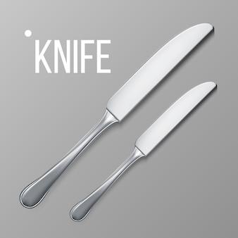 Vista superior del cuchillo de metal plateado