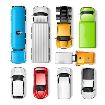 Vista superior de los coches