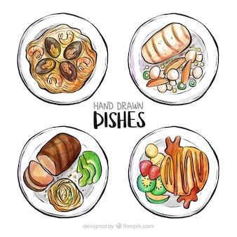 Vista superior de platos de comida en acuarela