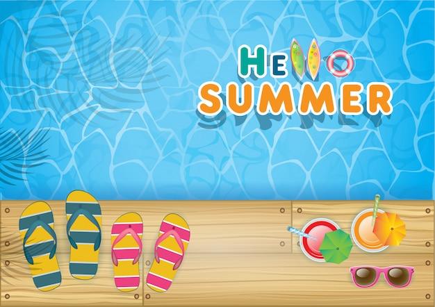 Vista superior de la decoración de verano con objetos realistas en la playa. concepto de vacaciones de temporada en el país tropical. ilustración