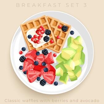 Vista superior del delicioso desayuno conjunto aislado sobre fondo beige: ilustración