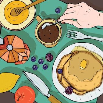 Vista superior del desayuno. ilustración cuadrada con almuerzo. café saludable, fresco, panqueques y frutas. colorida ilustración dibujada a mano.