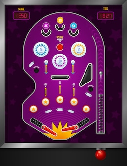 Vista superior de dibujos animados y composición de pinball violeta con elementos electrónicos