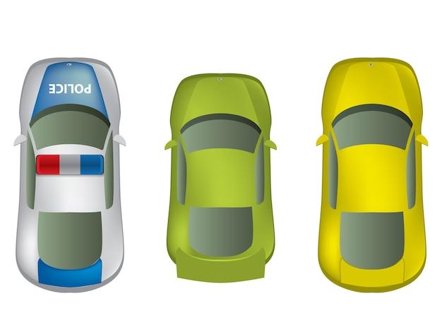 Vista superior de diferentes automóviles establecidos