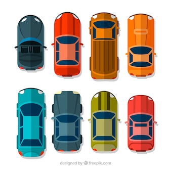 Vista superior de diferentes coches flat