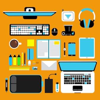 Vista superior de los dispositivos informáticos
