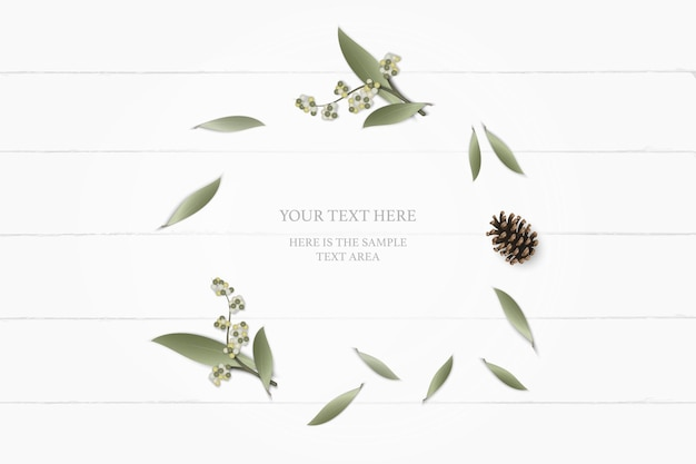 Vista superior elegante blanco composición papel jardín botánico planta hoja flor pino cono sobre fondo de madera.