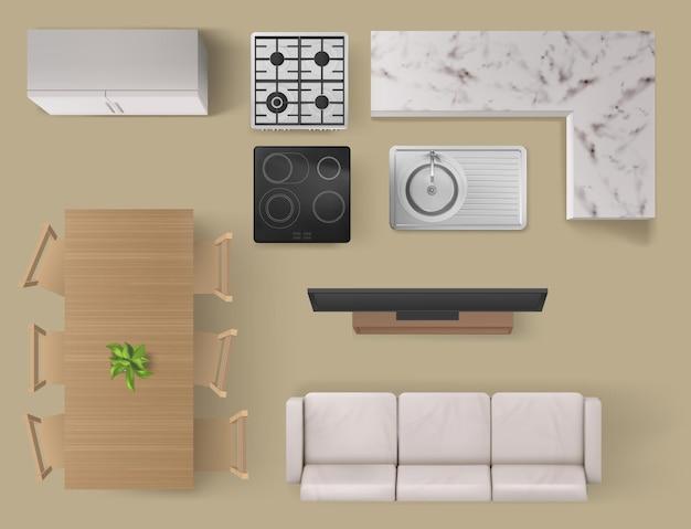 Vista superior de elementos interiores en muebles de sala y cocina