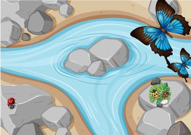Vista superior de la escena del río con mariposas y mariquitas.