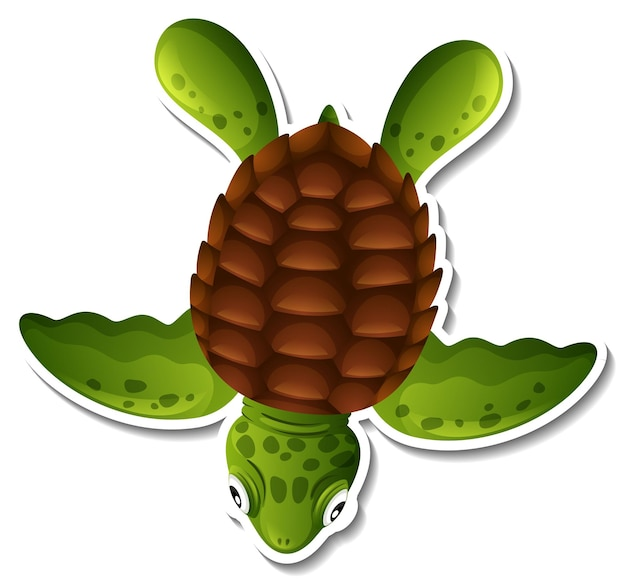 Vista superior de la etiqueta engomada de dibujos animados de tortugas marinas sobre fondo blanco