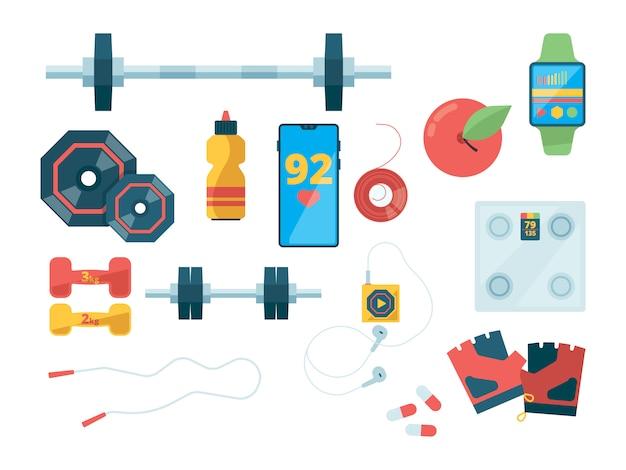 Vista superior de fitness. equipamiento deportivo para entrenar ropa de gimnasia pesas escalas fotos planas