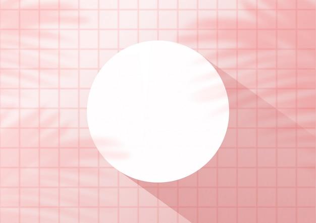 Vista superior fondo de azulejos de color rosa con hojas de palma para la exhibición del producto. showroom disparar render.
