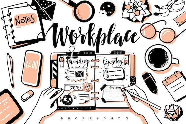 Vista superior del fondo del escritorio del lugar de trabajo. fondo de escritorio de trabajo de estilo de contorno de doodle. oficina de contornos negros vista superior objetos aislados sobre fondo blanco.