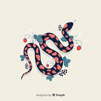 Vista superior fondo serpiente con flores dibujada a mano