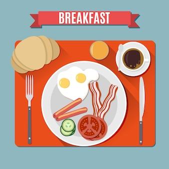 Vista superior de gran desayuno