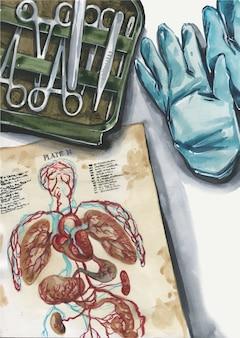Vista superior ilustración del lugar de trabajo del cirujano. libro de anatomía, guantes, instrumental quirúrgico, fórceps, bisturí. ilustración conceptual flatlay de la medicina