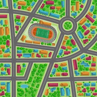 Vista superior de la ilustración plana de la ciudad para cualquier diseño.