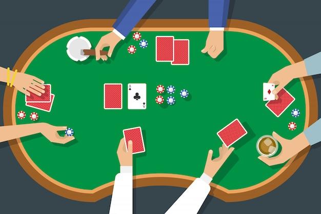 Vista superior del juego de póker
