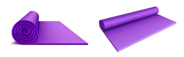 Vista superior y lateral de la estera de yoga, colchón enrollado de color púrpura para ejercicios de fitness, estiramiento, meditación, entrenamiento deportivo en el piso, alfombra de aeróbicos plana aislada
