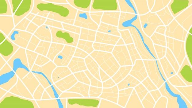 Vista superior limpia del mapa de la ciudad durante el día