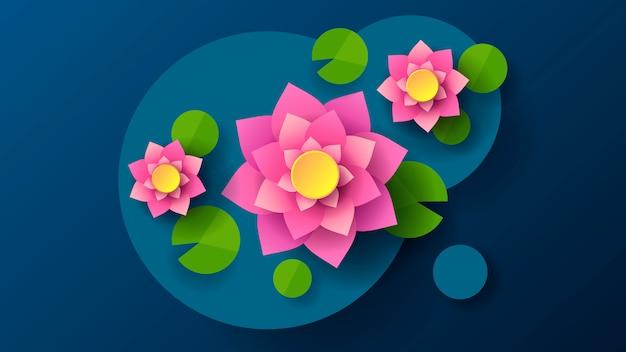 Vista superior de lotus en el fondo oscuro del estilo de dibujos animados.