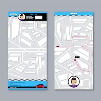 Vista superior del mapa de la interfaz de la aplicación de taxi de la ciudad