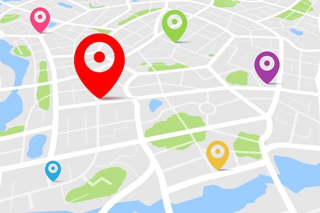 Vista superior de un mapa con punto de ubicación de destino