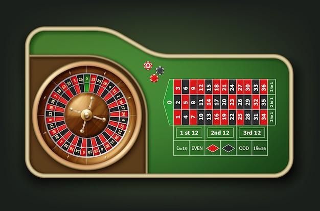 Vista superior de la mesa de la ruleta del casino realista del vector, la rueda y las fichas aislada en fondo verde