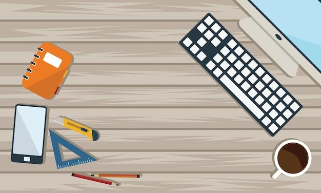 Vista superior de la mesa de trabajo y mesa de trabajo con gadget y espacio libre para texto.