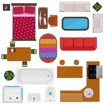 Vista superior de muebles para el hogar