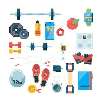 Vista superior de objetos deportivos. equipo de entrenamiento de fitness calzado deportivo mancuernas de acero concepto saludable bebidas deportivas