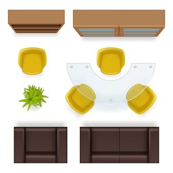 Vista superior de la oficina. vector de elementos interiores de la oficina de negocios de los sillones de las sillas del armario de las mesas de los muebles. ilustración oficina vacía, sillón realista y muebles.
