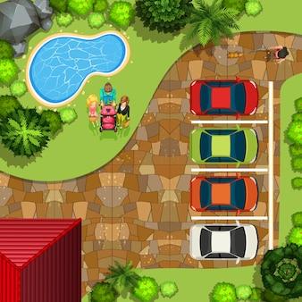 Vista superior del parque con personas y autos.