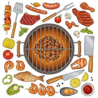 Vista superior de la parrilla de barbacoa carbón, kebab, champiñones, tomate, pimiento, filete