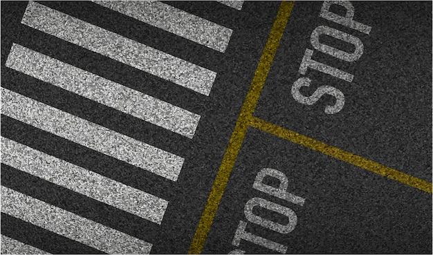 Vista superior del paso de peatones con fondo de asfalto con textura. conducción y movimiento seguros