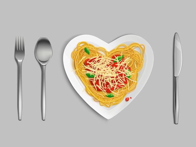 Vista superior de pasta con salsa y queso