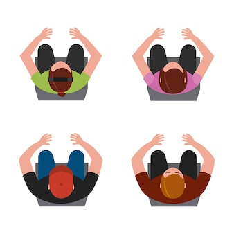 Vista superior personas sentadas en la ilustración de vector de silla