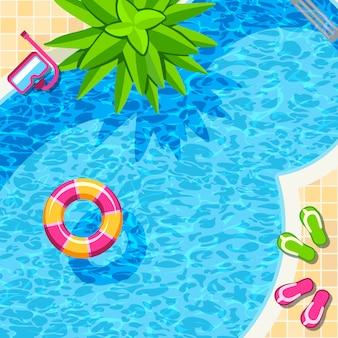 Vista superior de la piscina para relajarse fondo